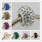 New Czech CRYSTAL AUTHENTIC 925 STERLING SILVER EUROPEAN BIG HOLE CHARM BEADS
