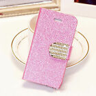 Crystal Diamond Glitter Bling Flip Wallet Stand Case Cover 6 Color PU Leather PC