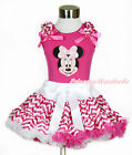 Pink Minnie Hot Pink Girl Top Hot Pink White Wave Stripe Pettiskirt Set 1-8Year