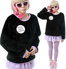 RTBU Cutie Decora Kawaii Punk Black Purple Teddy Bear Faux Fur Furry Sweatshirt