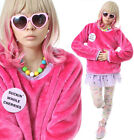 RTBU Decora Punk Hot Pink Pastel Purple Teddy Bear Faux Fur Furry Sweatshirt