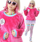 RTBU Cutie Kawaii Decora Punk Hot Pink Aqua Teddy Bear Faux Fur Furry Sweatshirt