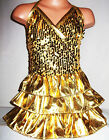 GIRLS GOLD SEQUIN RUFFLE EVENING CHIRISTMAS PARTY DRESS  age 4-14