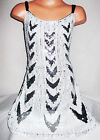 GIRLS BLACK WHITE CHEVRON PATTERN SEQUIN EVENING PARTY DRESS