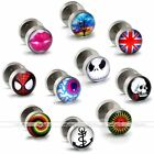 1pair Print 18Ga Stainless Steel Barbell Fake Cheater O Ring Screw Stud Earring