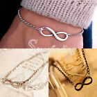 1PC Infinity Goth Punk Rock Horizontal Number 8 Bracelet Wristband Chain 18+5cm