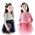 Girls Toddler Cotton Polka Dots Tulle Party Top Dress Baby Long Sleeve Skirt 2-7