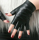 Genuine Leather Punk Snap Button Half Fingerless Biker Riding Glove Touch Screen