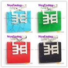 NiceFinding New square beads siver pendant 36x40mm1 pcs FREE gift box +chain