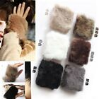 Ladies Womens Girls Winter Warm Faux Rabbit Fur Fleece Half Fingerless Gloves