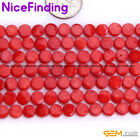 6mm Red Pink Coin Coral Stone Beads For Jewelry Making Fashion Necklace In Bulk