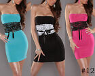 Ladies Clubbing Womens Party Cocktail Club Wear Strapless lace bow Mini Dress