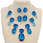 Fashion Jewelry Set Silver Plated Huge Statement Necklace Dangle Drop Earrings