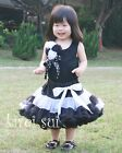 Baby Girls Black White Pettiskirt Rosettes Tank Top Birthday Party Dress 1-7Y