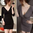 Sexy Women Deep V Long Sleeve Stretch BodyCon Club Party Casual Wrap Mini Dress