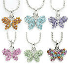 "New Austrian Crystal 18"" inch Silver tone Necklace Chain & Butterfly Pendant"