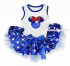 Blue Patriotic Star Minnie White Sleeveless Patriotic Star Skirt Pet Dog Dress