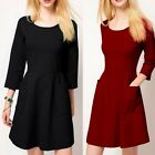 3/4 Sleeve Crew Neck Big Pocket Womens Mini Dress Stretch Concealed Zipper Solid