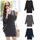 Hot Casual Women Long Tee T-Shirt Batwing Sleeve V-neck Loose Button Tops Blouse