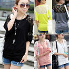 New Sexy Womens Girls Lace Batwing 3/4 Sleeve Loose T Shirt Top Blouse