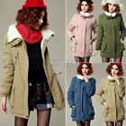 Womens Ladies Warm Winter Fleece Parka Overcoat Long Jacket Coat Outerwear