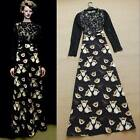 Runway New Autumn Long Sleeve Black Lace Floral Print Evening Gown Maxi Dress