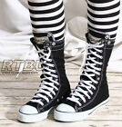 12H Calf Punk Rock Black White Canvas Flip Fold Collar Sneaker Hi Top Flat Boot