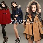 Women Faux Fur Hoodie Pleated Bow Cape Poncho Lady Shawl Cloak Jacket Plus Size