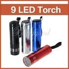 9 LED Aluminium Mini Pocket Torch Flash Flashlight Camping Light Small Lamp AAA