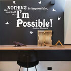 Audrey Hepburn Nothing is Impossible Inspiration Wall Stickers Quotes Wall Decal