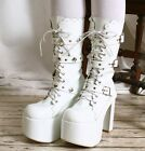 Gothic Punk Visual Kei Strap Buckle Cosplay Platform Calf Show Boot Bridal White
