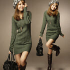 Womens Casual V Neck Sweater Jumper Long Top Mini Dress Pullover Tops Stylish E