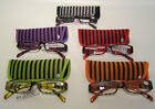 LP22743 - Striped Reading Glasses - Purple, Green, Orange, Red, Grey