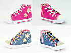Girls Canvas Casual Shoes Boots Kids Ankle Hi Top  Lace Up Trainers Flower Pumps