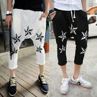 Men's Star Print Harem Baggy Jogger Sweat Pants Short Cropped Trousers Slacks