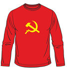 Hammer And Sickle CCCP Soviet USSR Long Sleeved Mens Loose Fit Cotton T-Shirt