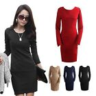 Women's Spring Bodycon Dress Slim Office Lady Long Sleeve Pencil Dress Casual
