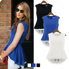 Women Sleeveless Tunic Peplum Asymmetric Hem Frill Chiffon Shirt Top Vest Blouse