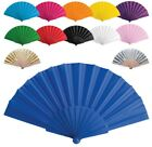 PACK OF 10 HANDHELD PRETTY FAN - WEDDING ACCESSORY & FAVOUR - FABRIC SUMMER NEW