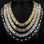 11MM Mens Chain Flat Byzantine Box Stainless Steel Necklace CUSTOMIZE DIY 20-30""