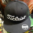 NEW Titleist Flat Bill Fitted Golf Hat/Cap Black/White (TH2FFB-01)