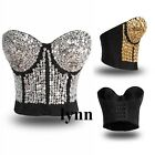 GaGa Punk Gathers Sequined Gem Bead Spike Studs Rivet Bra Bralet Costume Top