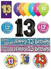 13th Birthday AGE 13 - Large Range of CAKE CANDLES & Party BANNERS(Plastic/Foil)