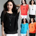 Fashion New Women Ladies Loose Short Batwing Sleeve Chiffon T Shirt Blouse Tops