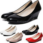 New Womens Ladies Wedge Heel Patent Smart Casual Work Slip Office Court Shoes
