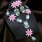 vintage antique jewellery flower faux gemstone pendant necklace earrings set