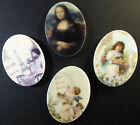 8 ASSORTED VINTAGE STYLE IMAGE ACRYLIC/PLASTIC OVAL CABOCHONS 27mm x 20mm