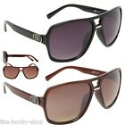 D.E DESIGNER SUNGLASSES BLACK LARGE MENS WOMEN LADIES RETRO AVIATOR UV400 G-5014