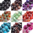 "12MM FROST ROUND AGATE LOOSE JEWELRY GEMSTONE BEADS STRAND 15"",SELECT BY COLOR"