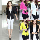 Womens Blazer 3/4 Sleeve Lapel Collar Slim Casual One Button Suit Jacket Coat